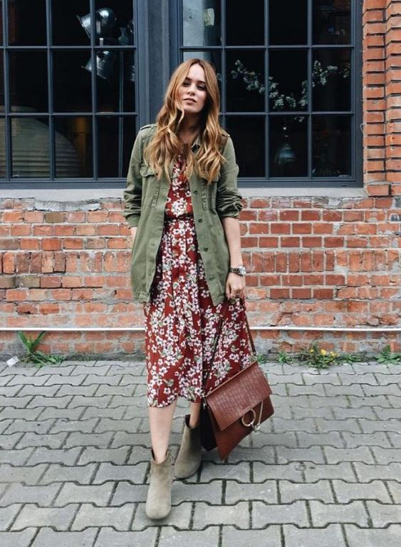 a burgundy floral midi dress, an olive grene cargo jacket, tan booties and a burgundy bag for a fall look