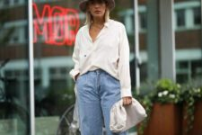 04 a spring look with a white shirt, blue slouchy jeans, hot pink shoes, a hat and a white clutch