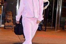 06 a plush pink tracksuit with a hoodie is a comfy, warm and cute option to wear right now