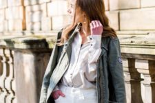 07 a neutral oversized shirt, white jeans, an olive green cargo jacket for this spring