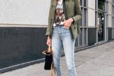 08 a printed tee, an olive green cargo jacket, light blue jeans, white sneakers and a black bag