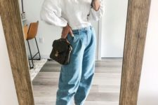 08 an everyday look with blue slouchy jeans, a white textural top, white sneakers and a small brown bag