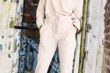09 a tan homewear suit with pants and a long sleeve top looks proper and feels very comfy