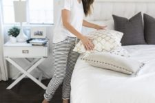 11 casual pajamas with a white tee and striped joggers are comfortable and timeless, such a set always works