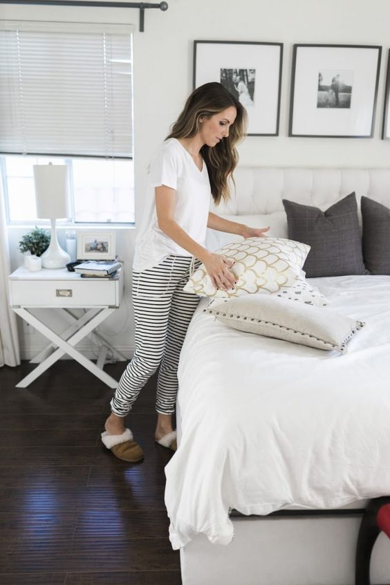 casual pajamas with a white tee and striped joggers are comfortable and timeless, such a set always works