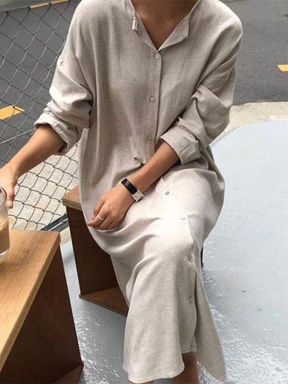 a neutral linen midi shirtdress with buttons and long sleeves is a nice idea to feel comfortable