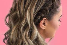 12 a wavy half updo with a side braid that accents one part and looks pretty and cool