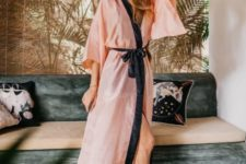 13 a pink kimono dress with a navy ribbon sash is a very comfortable idea that looks catchy