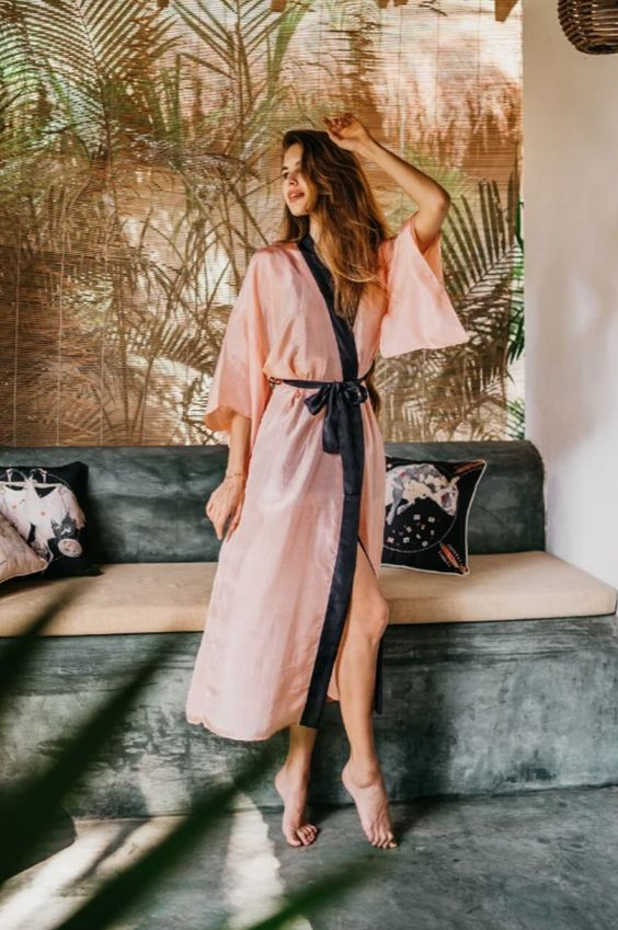 a pink kimono dress with a navy ribbon sash is a very comfortable idea that looks catchy