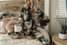 13 dark floral pajamas with a long sleeve top and cropped pants are ideal to wear right now