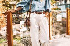 14 a chic summer look with white slouchy pants, a chambray off the shoulder top, acrylic shoes and a brown bag