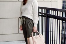 14 a spring outfit with a white top, gren paper bag pants, silver slippers and a blush bag