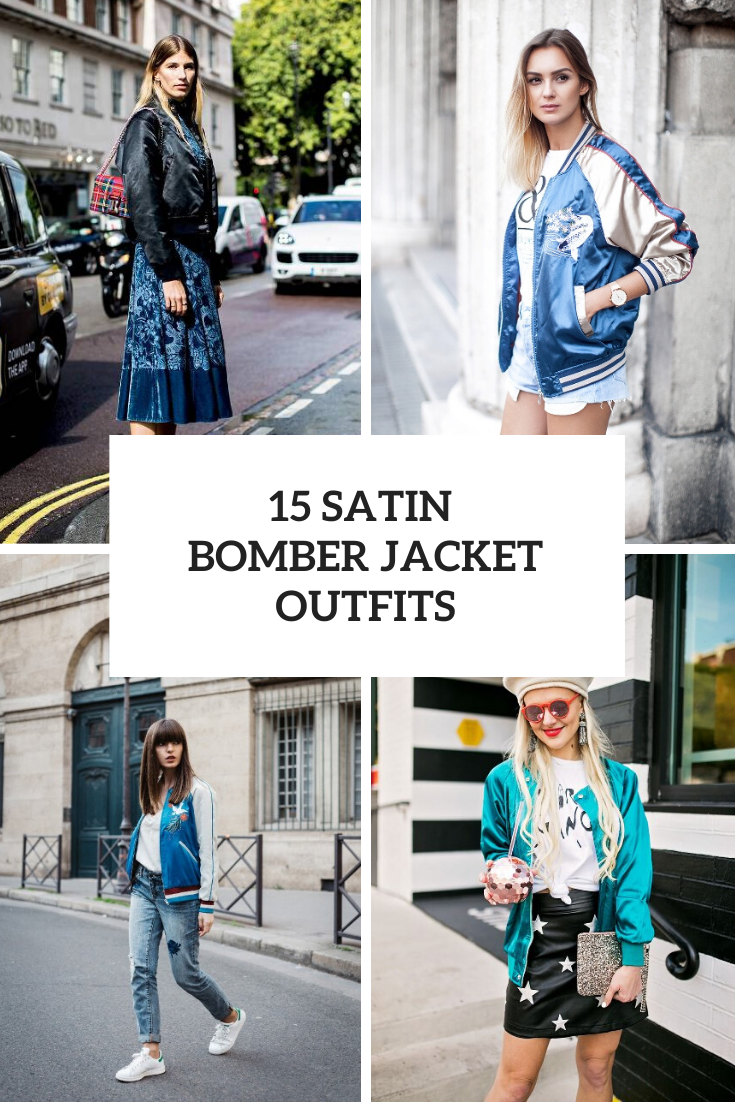 Looks With Satin Bomber Jackets For Ladies
