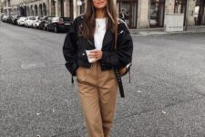 15 a spring or fall look with a white tee, camel slouchy pants, brown booties and a black leather jacket