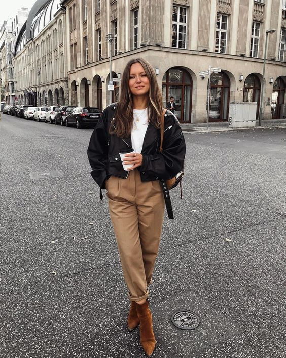 a spring or fall look with a white tee, camel slouchy pants, brown booties and a black leather jacket