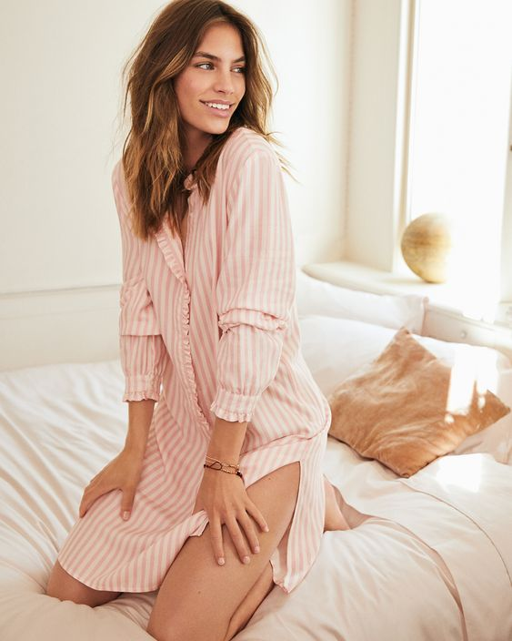 a striped pink shirtdress with long sleeves and sidde slits is a nice idea even for a video call