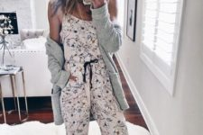 15 pretty floral pajamas with a spaghetti strap top and pants plus a grey cardigan to feel warm