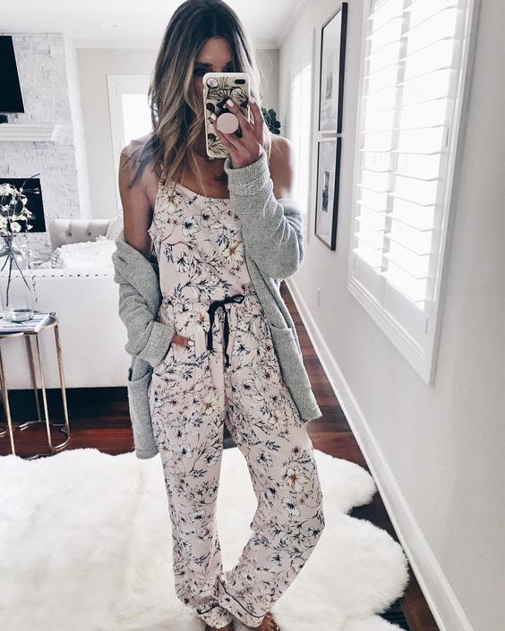 pretty floral pajamas with a spaghetti strap top and pants plus a grey cardigan to feel warm