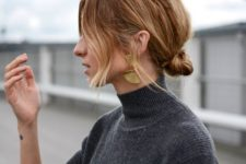 16 a low bun messy updo with much texture and ombre hair down is a trendy casual hairstyle