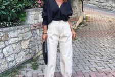 16 a trendy summer look with a black blouse, white slouchy pants, black strappy shoes and a black clutch