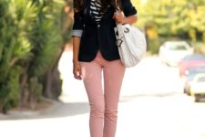 With black and white striped shirt, black blazer, white tote bag and mint green platform shoes