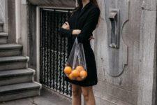 With black blazer dress and black sandals