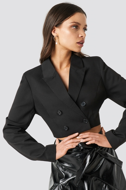 With black leather belted skirt
