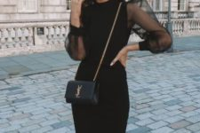 With chain strap mini bag and high heels