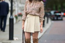 With checked blouse, bag and over the knee boots