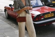 With checked blouse, brown crossbody bag and brown flat sandals