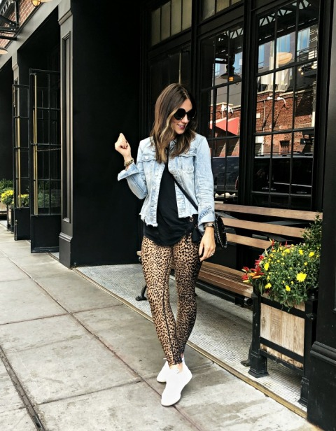 With denim jacket, white sneakers, crossbody bag and black t shirt