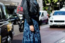 With floral midi dress, black flat boots and checked bag
