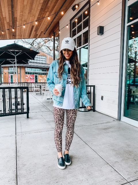 With labeled hoodie, cap, denim jacket and black and white flat shoes