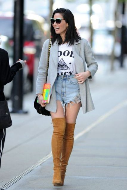 With labeled t-shirt, denim shorts, gray blazer and bag