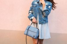 With light blue mini dress, bag and white ankle boots