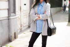With light blue shirt, gray blazer, cropped pants, black bag and pink shoes