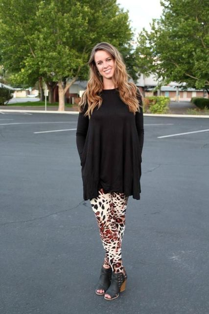 With loose long shirt and cutout shoes