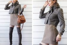 With mini sweaterdress, gray over the knee boots and brown bag
