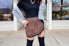 With navy blue shirt, gray cardigan and over the knee boots