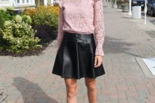 With pale pink lace blouse and black ankle strap shoes
