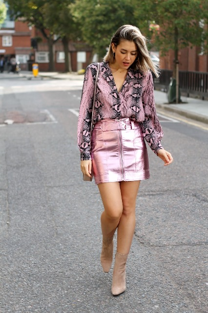 With pale pink metallic mini skirt, bag and beige heeled boots