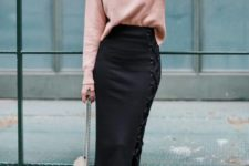 With pale pink sweater, chain strap bag and black ankle boots