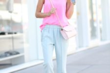 With pink top, chain strap bag and embellished sandals