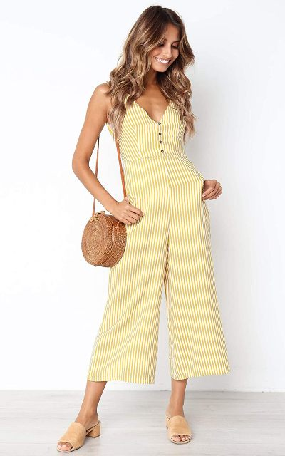 With rounded straw bag and beige mules