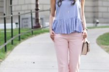 With ruffled shirt, bag and white high heels