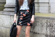 With shirt, black leather jacket, tote bag and dark brown ankle boots