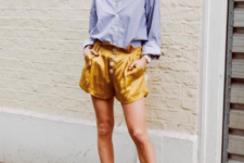 With striped button down shirt and satin shorts