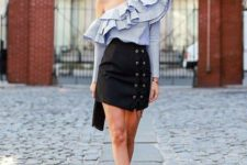 With striped one shoulder blouse, clutch and ankle strap shoes