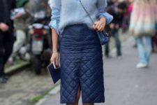 With striped shirt, light blue sweater, crossbody bag, puffer skirt and printed pumps