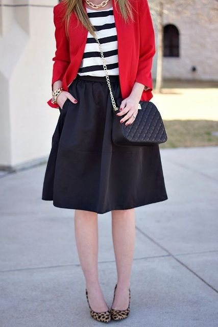 With striped shirt, red blazer, chain strap bag and leopard shoes